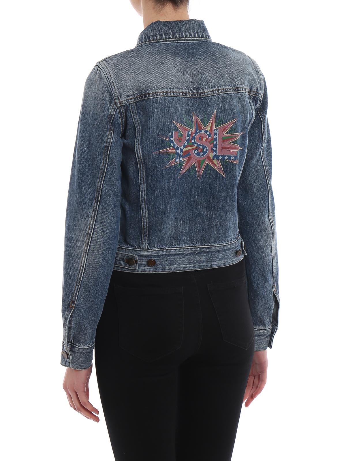 613699715a7 Saint Laurent - Denim jacket with rear ysl print - denim jacket ...
