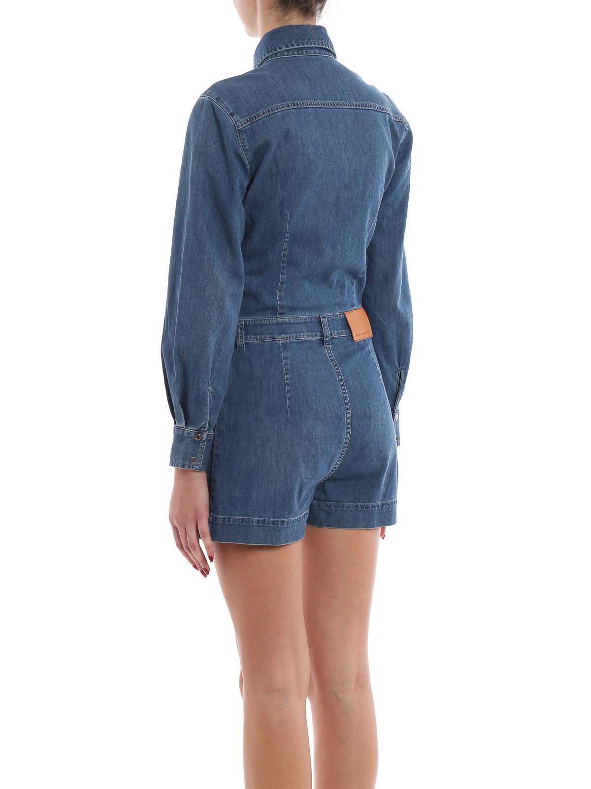 cb688136d0727 Stella Mccartney - Denim long sleeve short romper - jumpsuits ...
