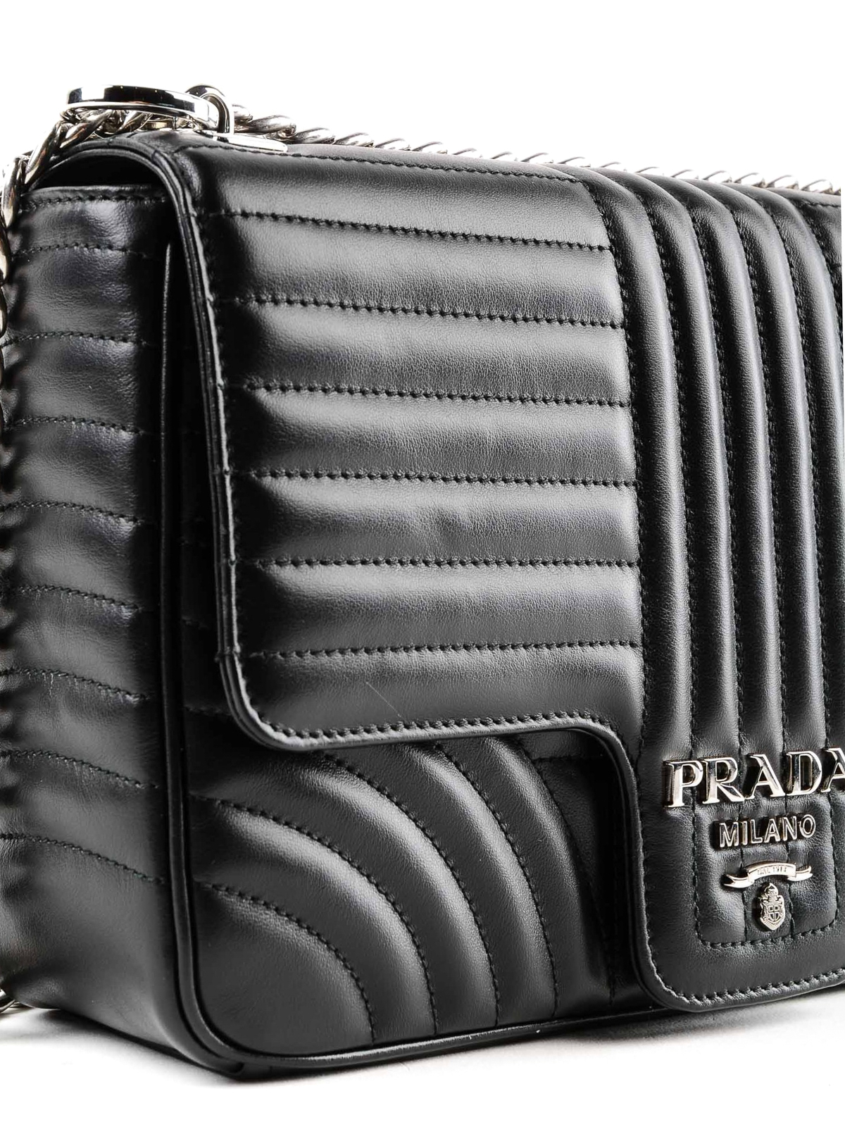 7b5292242f1676 Prada - Diagramme black leather shoulder bag - shoulder bags ...