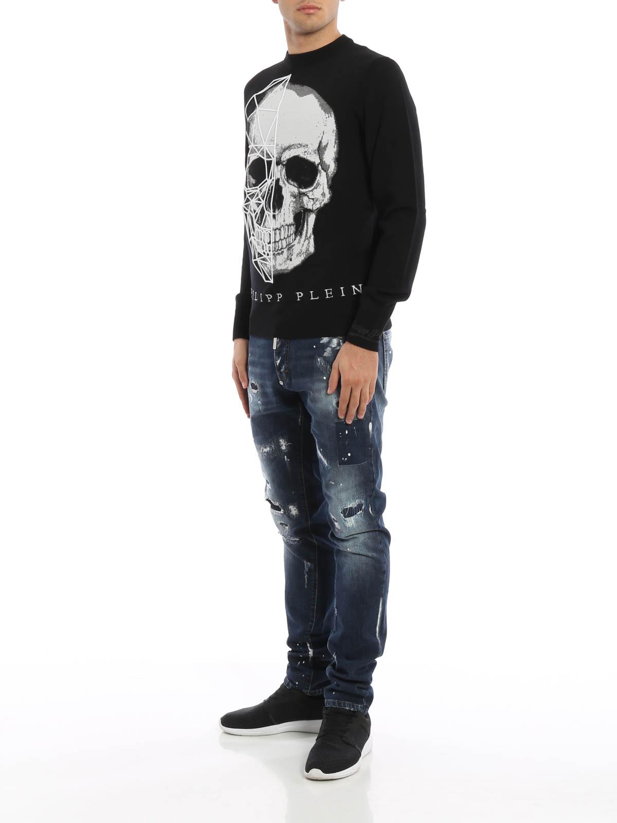 69761694247 Philipp Plein - Diamonds embroidered skull sweater - crew necks ...