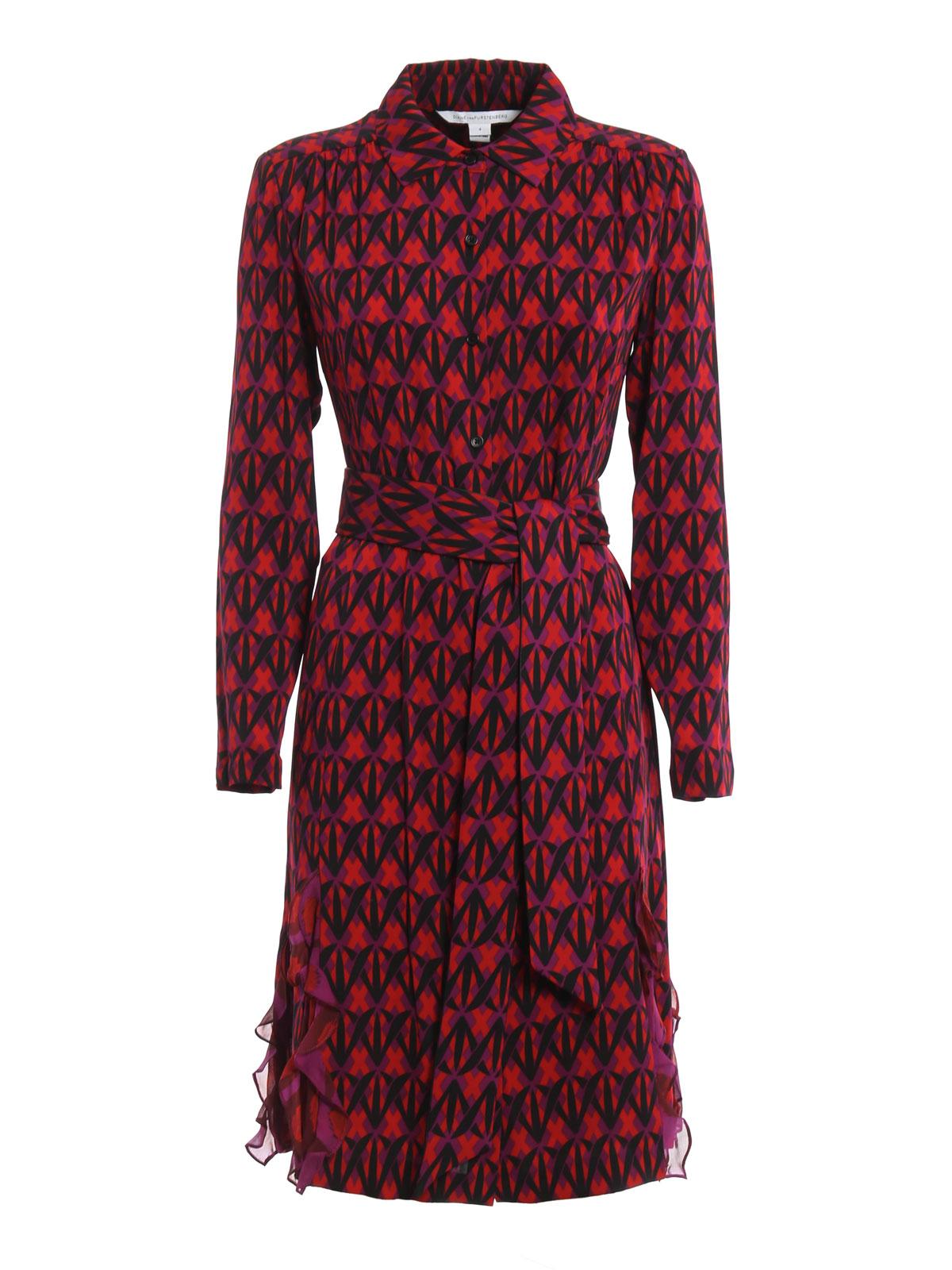 diane von furstenberg catherine belted silk shirt dress knielange kleider d985501s16dsrpp. Black Bedroom Furniture Sets. Home Design Ideas