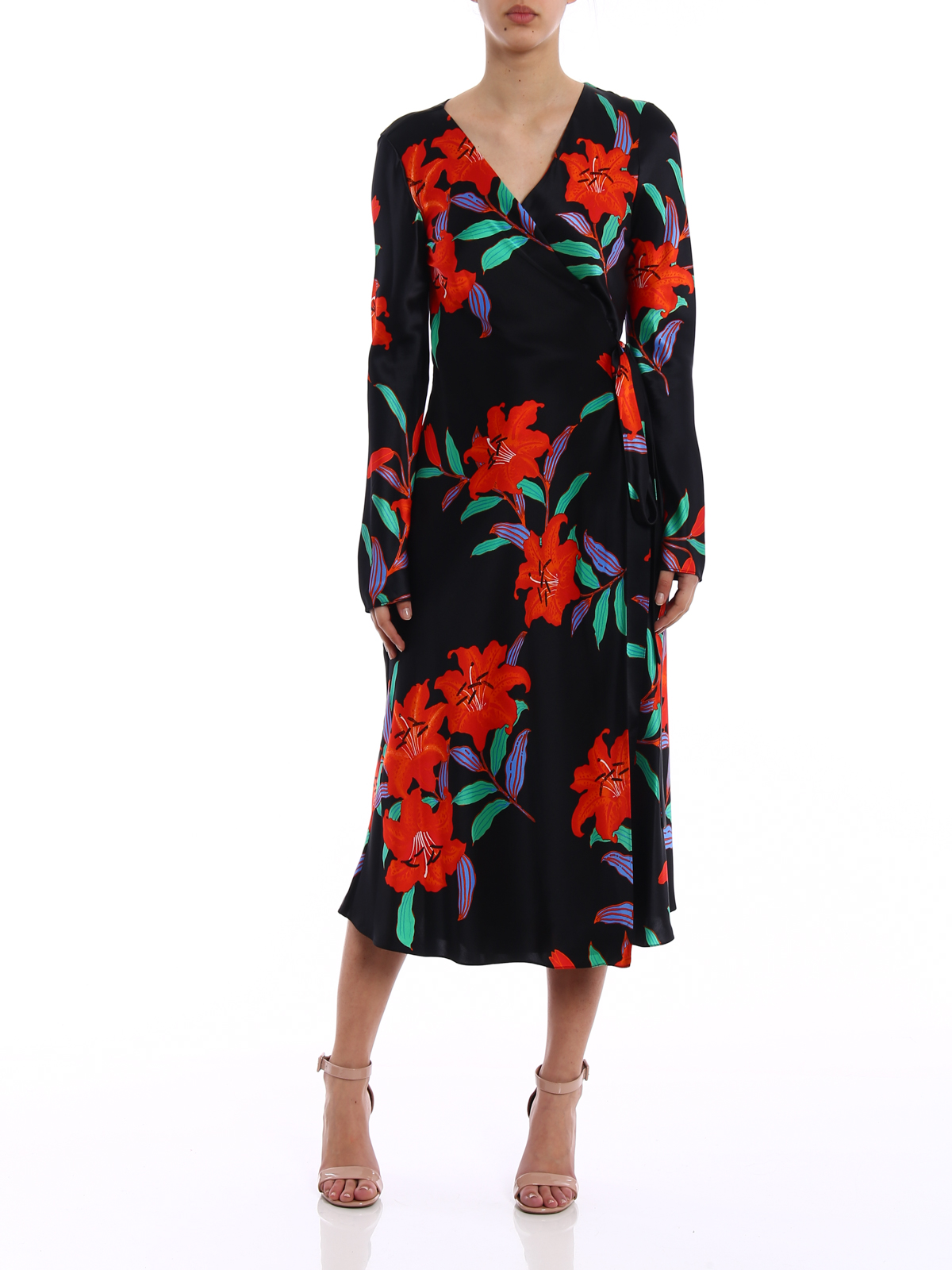 Diane Von Furstenberg Tilly Satin Wrap Dress Maxi