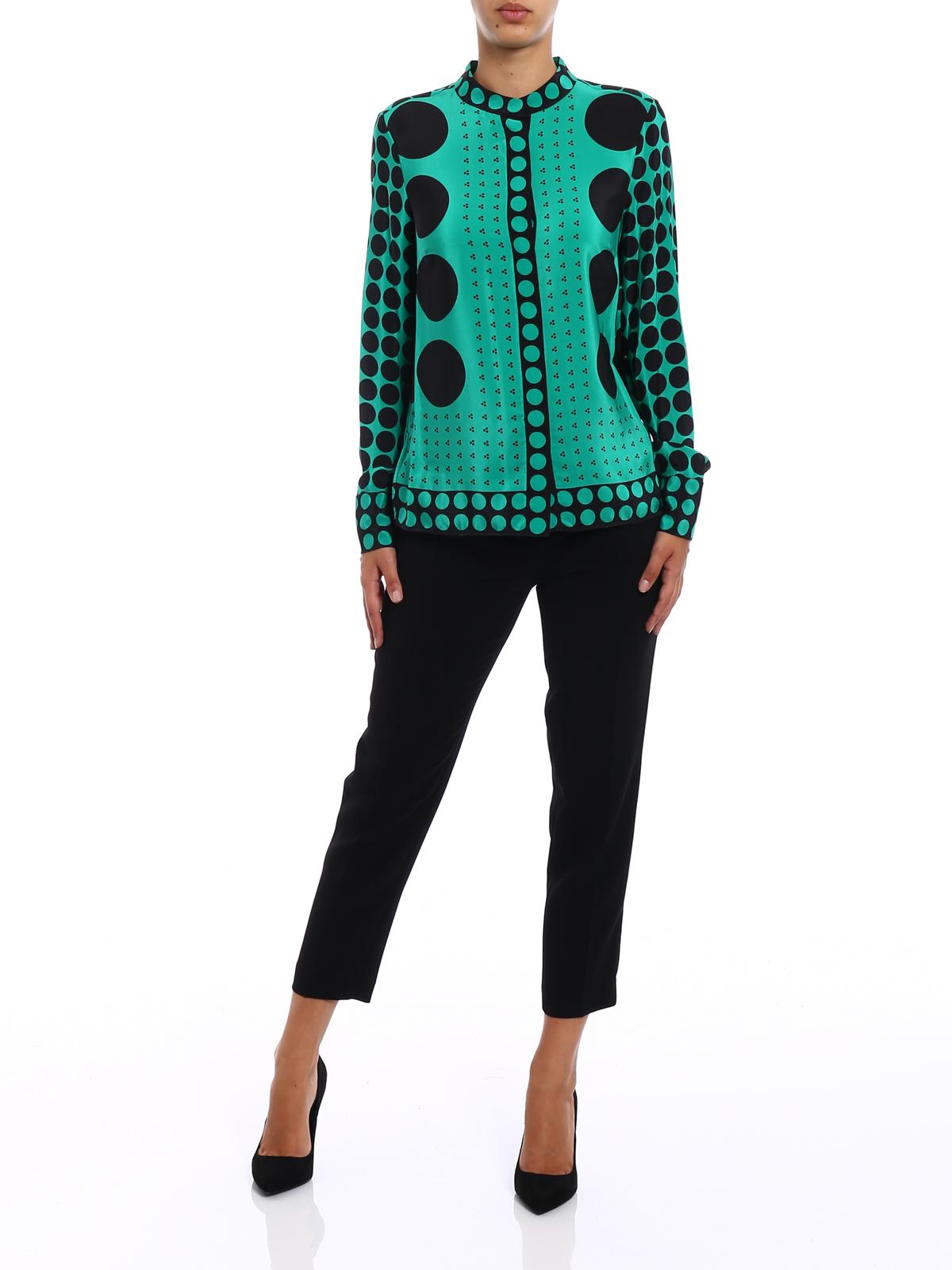 f7ec0825e1b1f Diane von Furstenberg: shirts online - Brunel Evergreen print silk shirt