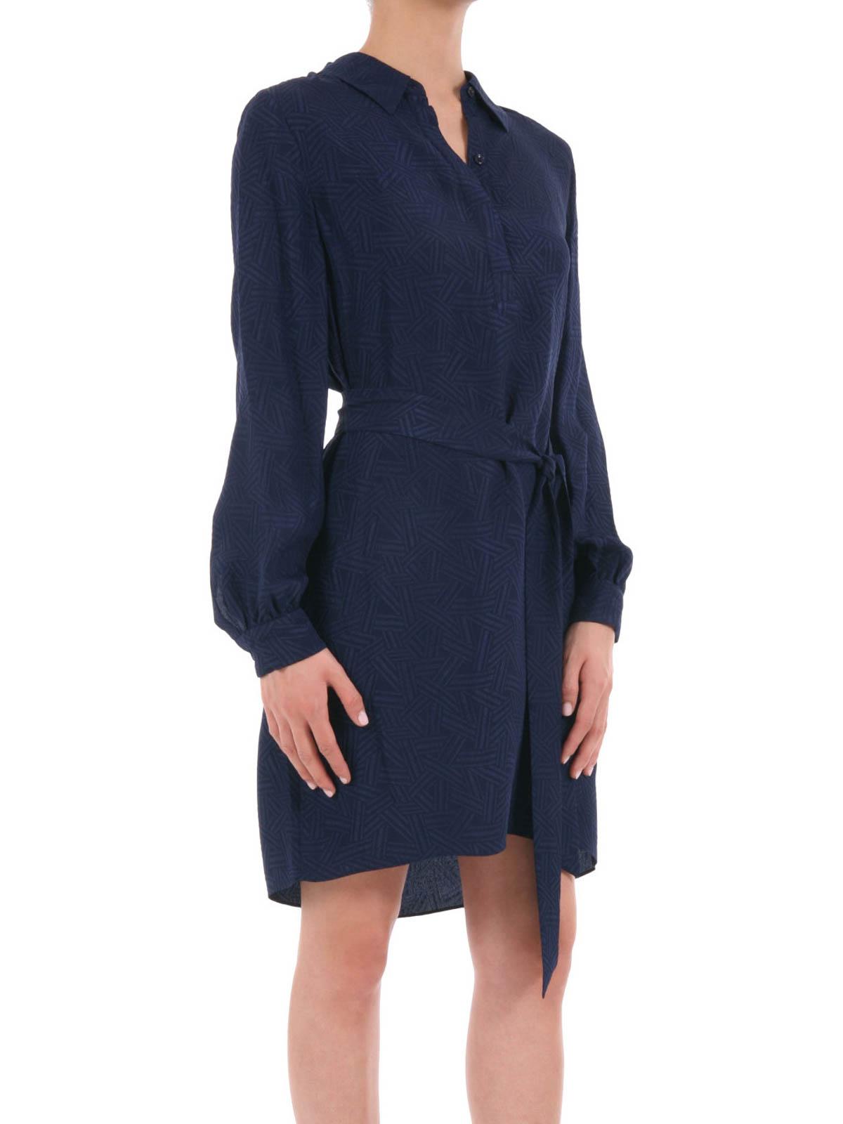 Diane Von Furstenberg Seanna Long Sleeve Silk Shirt Dress Short