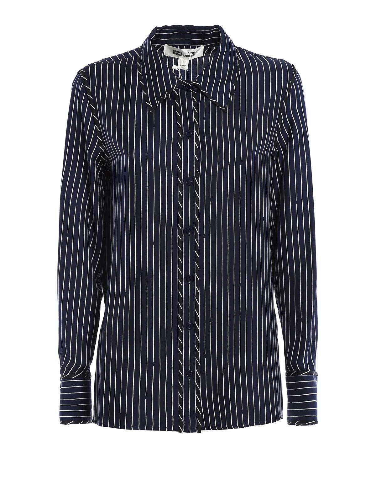Striped silk shirt by diane von furstenberg shirts ikrix for Diane von furstenberg shirt