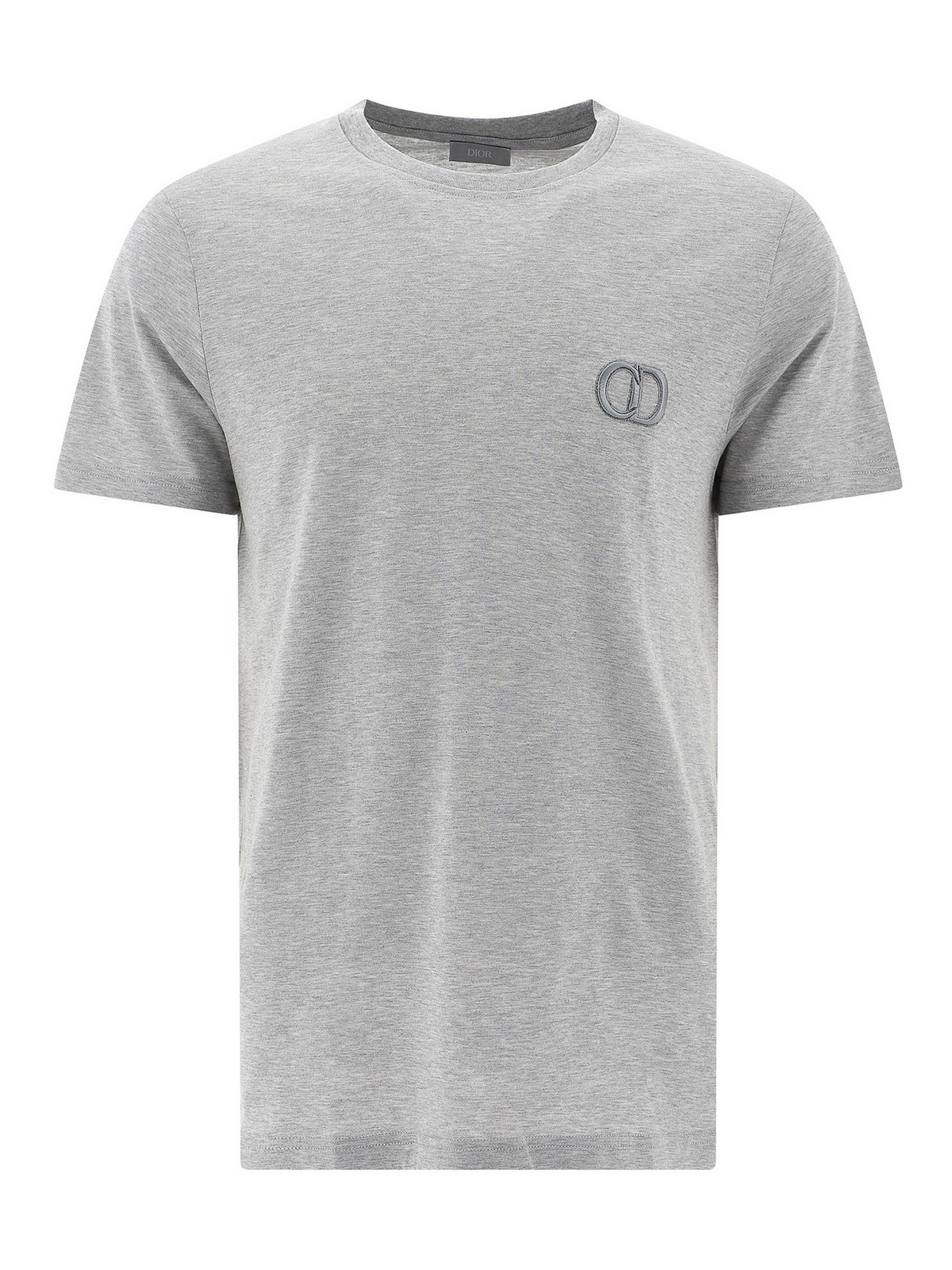 Dior Cd Icon Logo Embroidery T-shirt In Grey