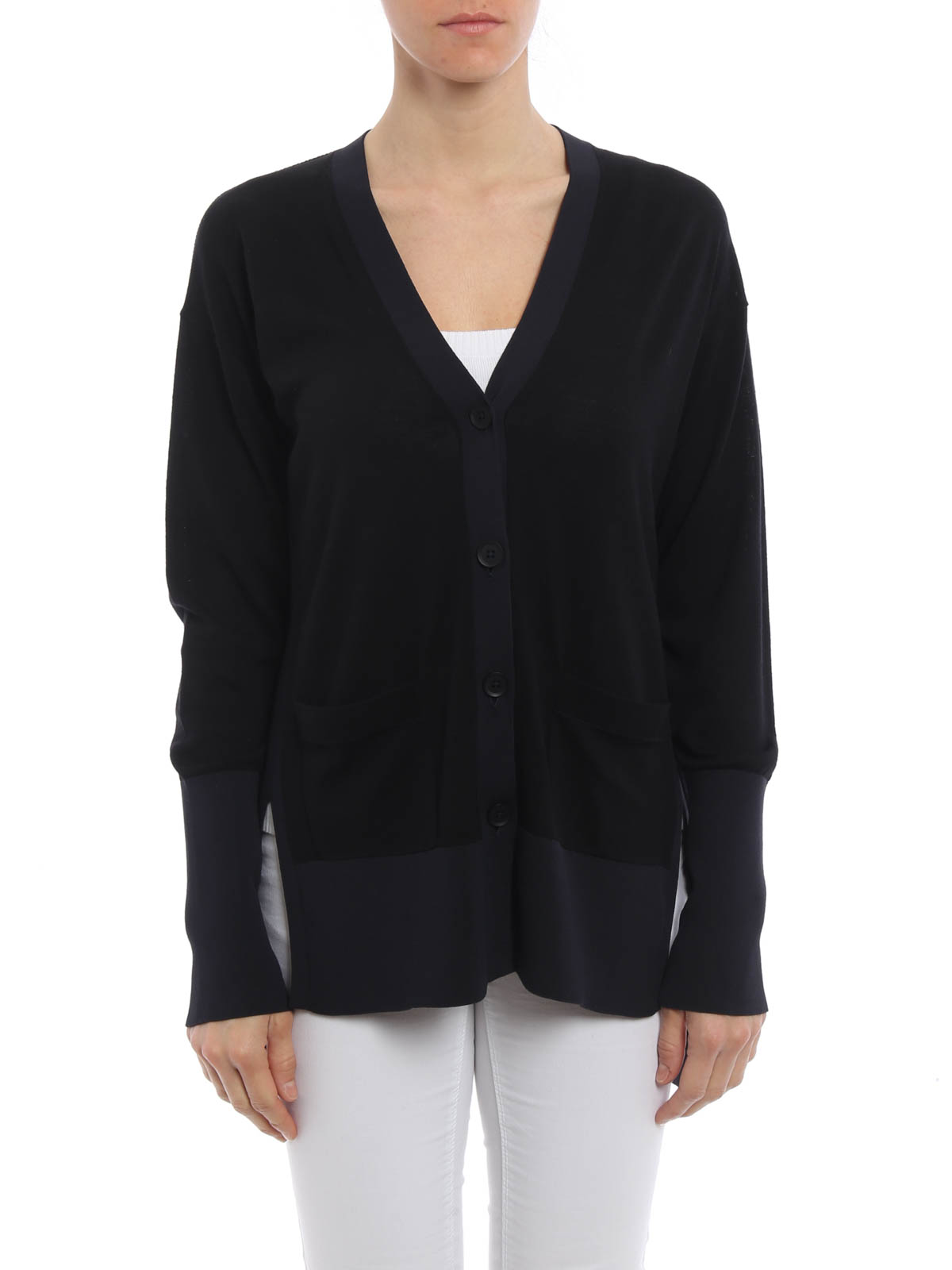 Back cut out wool cardigan by Dkny - cardigans | iKRIX