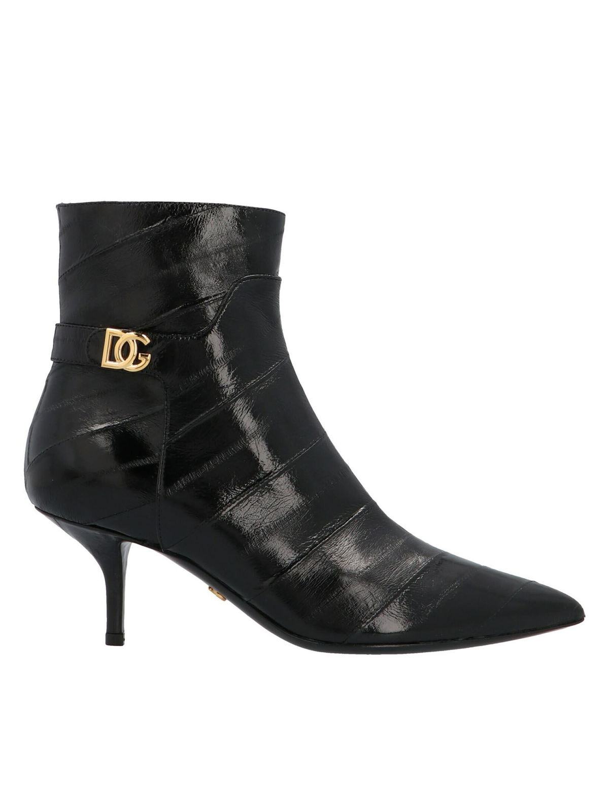 DOLCE & GABBANA CARDINALE LOGO ANKLE BOOTS IN BLACK