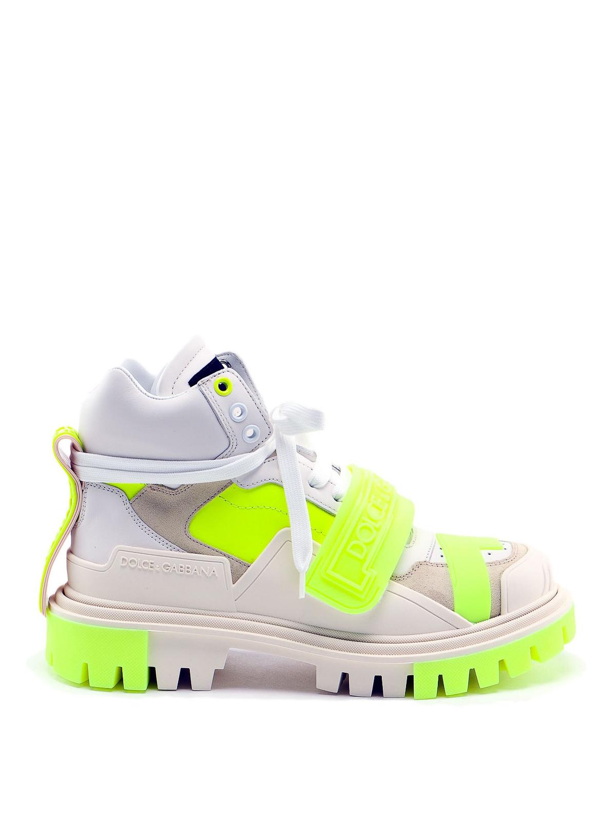Neon velcro trekking ankle boots
