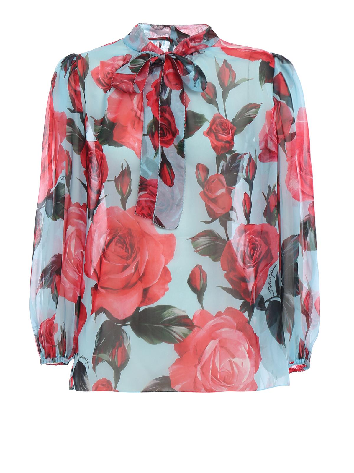 87fc4b5d5dc60c Dolce   Gabbana - Rose print silk organdie blouse - blouses ...