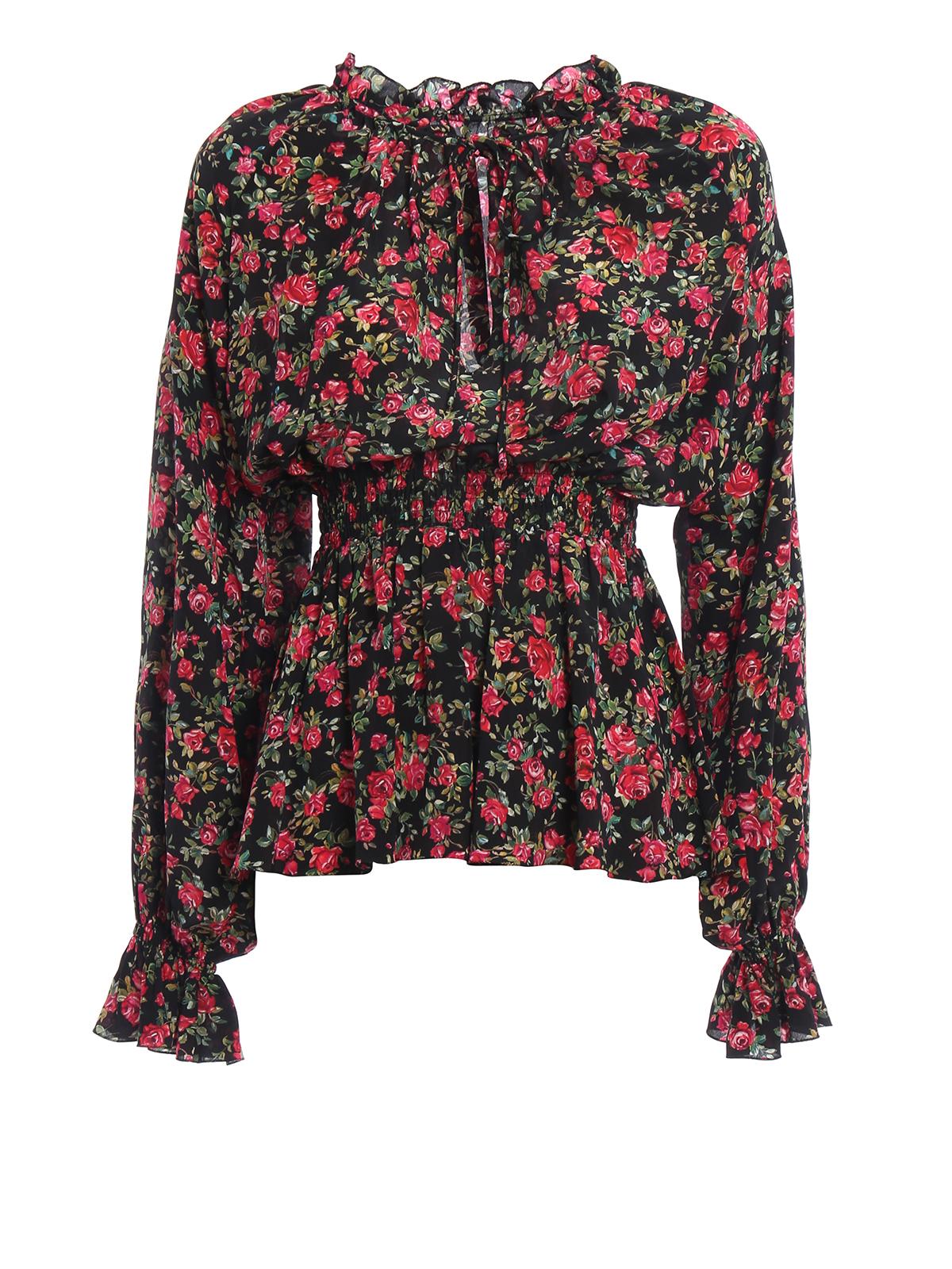 847d4c564370b8 Dolce   Gabbana - Small rose print silk blouse - blouses ...