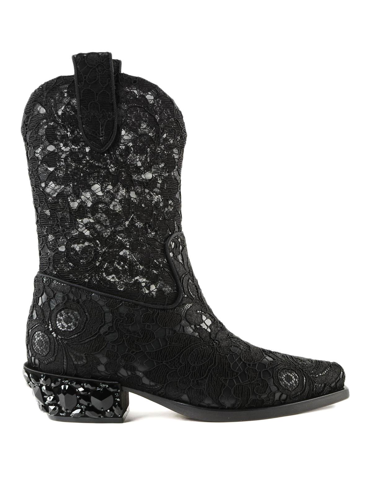 71c2ed4f05631 DOLCE   GABBANA  stivali - Stivale texano nero in pizzo e gros grain