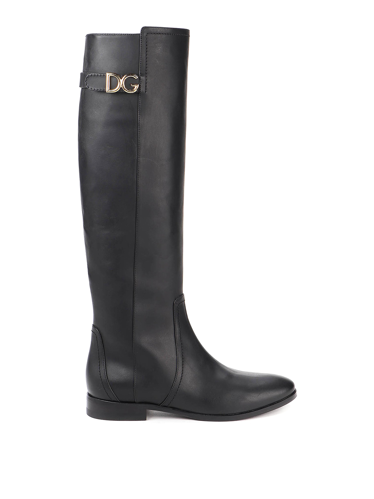 Dolce & Gabbana Leathers DG LOGO COW LEATHER BOOTS