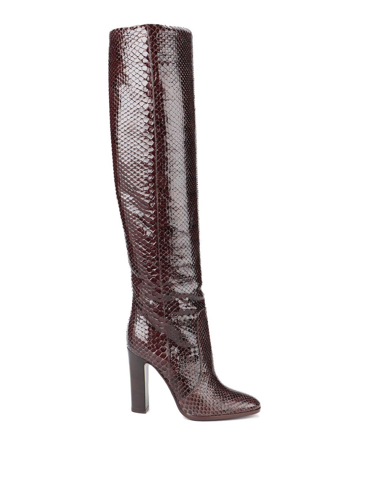 Dolce & Gabbana Leathers PATENT PYTHON LEATHER BOOTS