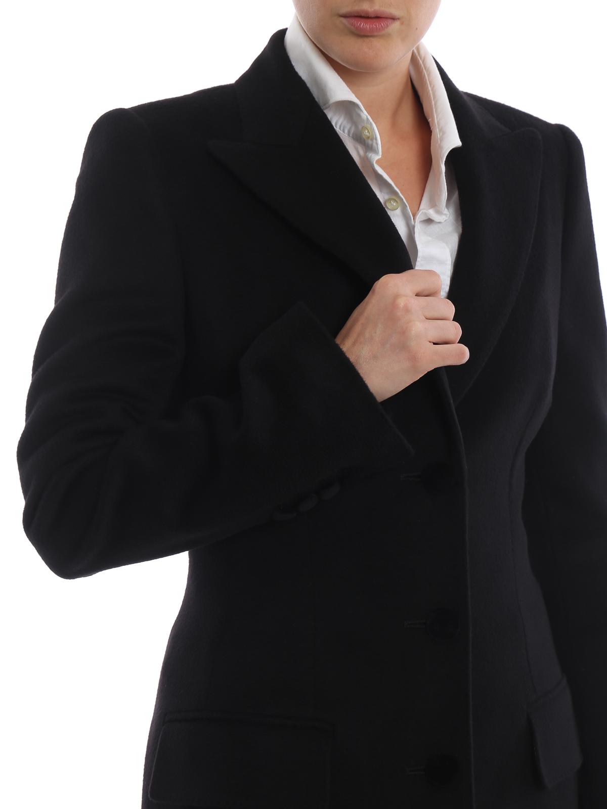 d449b582c7 Dolce & Gabbana - Cappotto nero in morbido panno di lana - cappotti ...