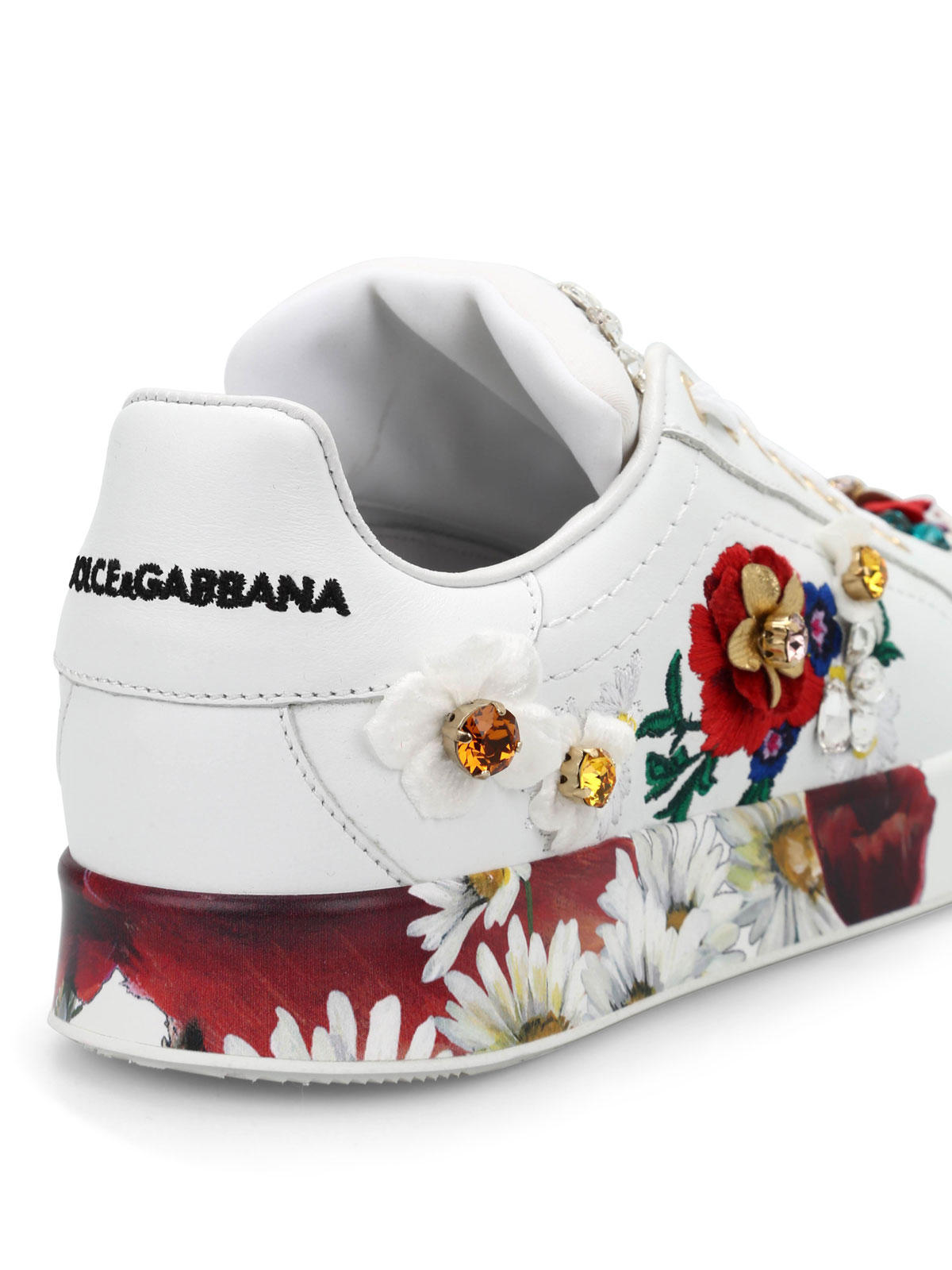 Dolce   Gabbana - Floral embroidered sneakers - trainers - CK0058 ... 4f9230aca1