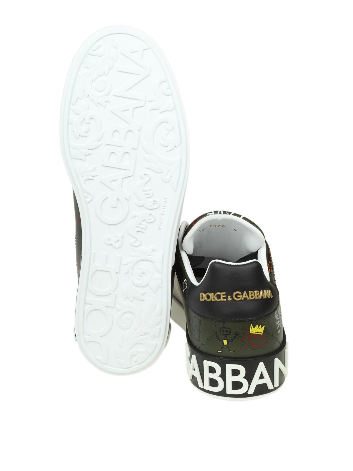 0fcb6a07 DOLCE & GABBANA buy online Graffiti print army green Portofino sneakers