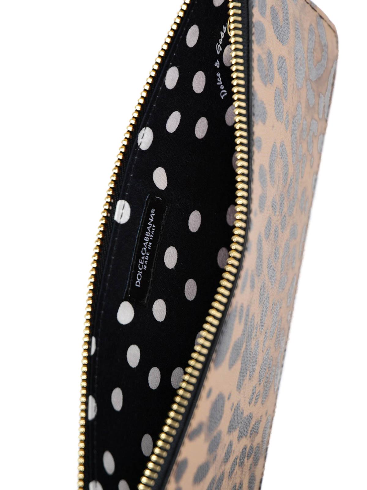 Dolce & Gabbana Leo printed leather clutch I0wYcb