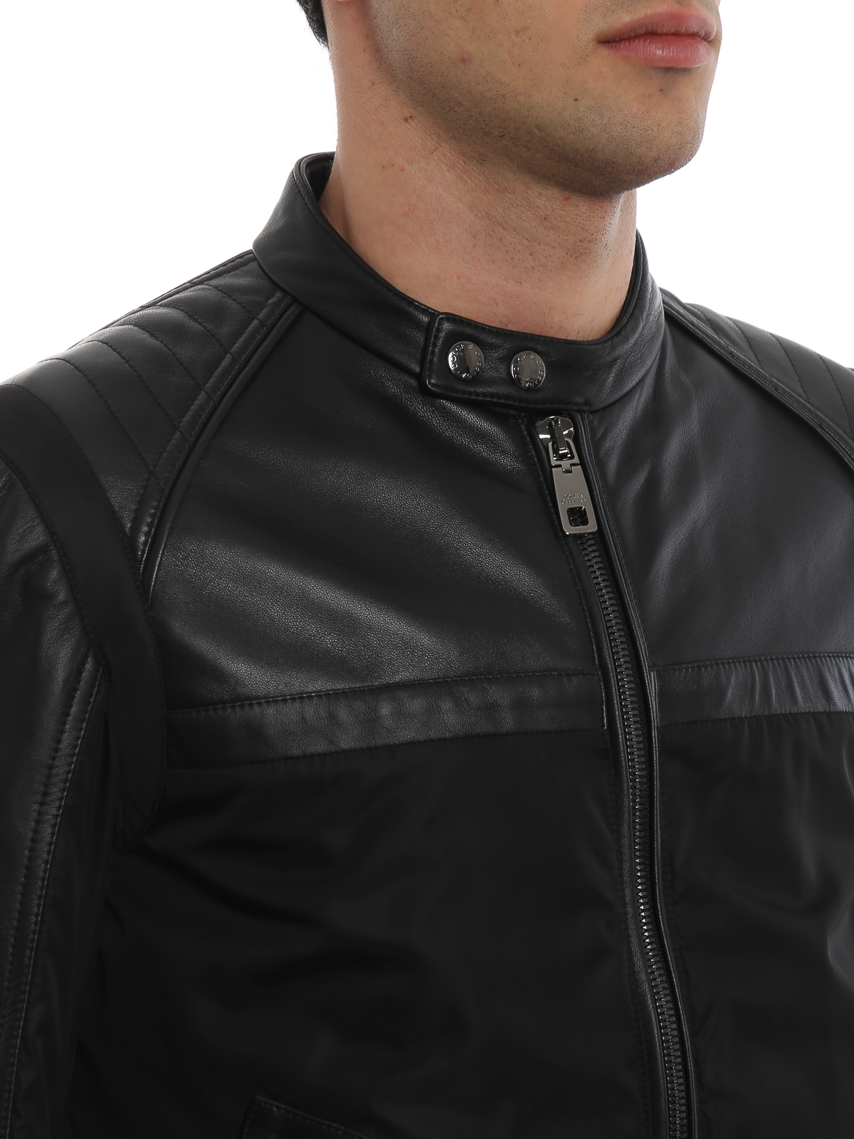 online retailer 27cf8 e0858 Dolce & Gabbana - Giubbotto in nylon e pelle - giacche in ...