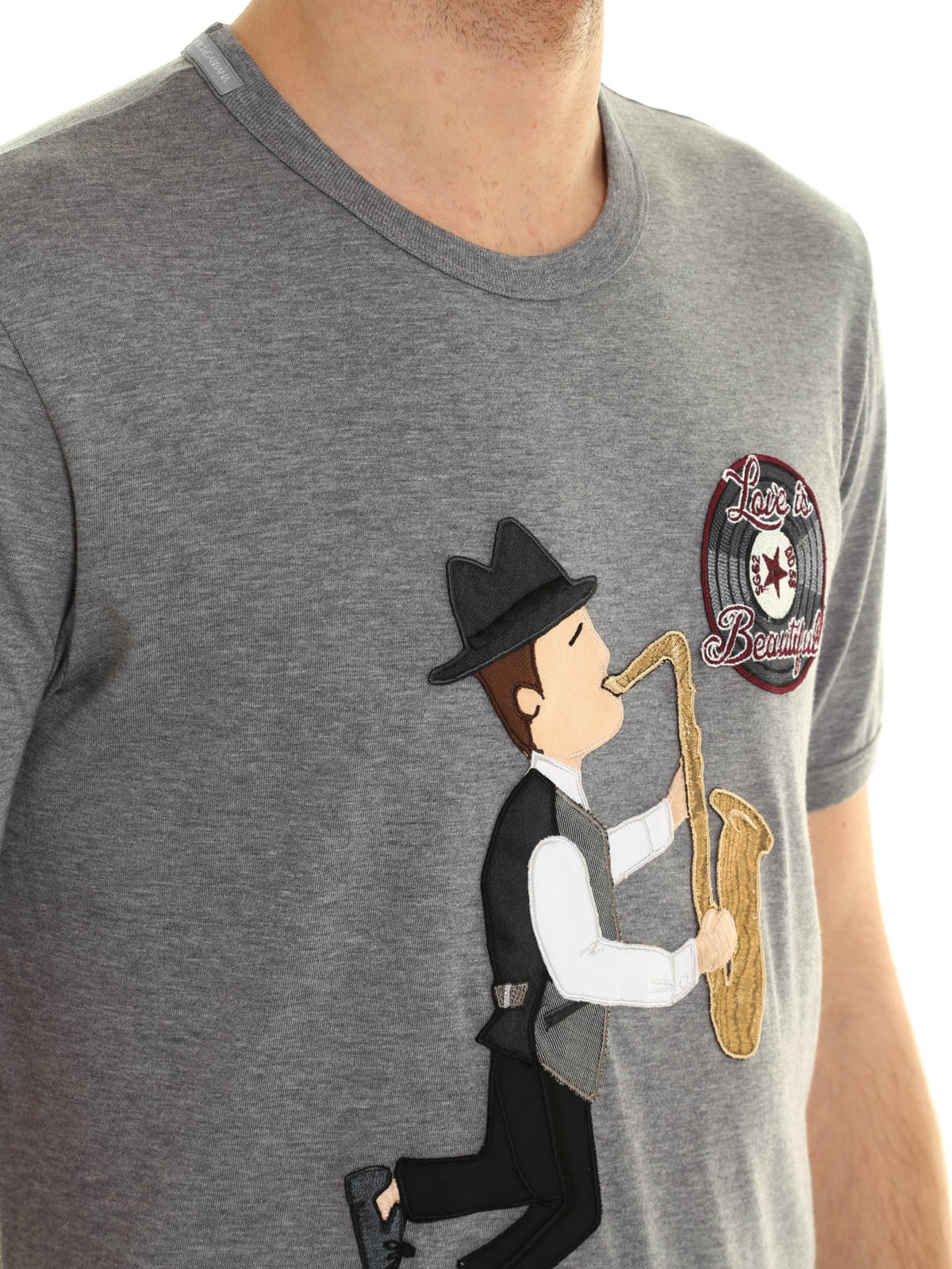 Saxophonist embroidery t shirt by dolce gabbana
