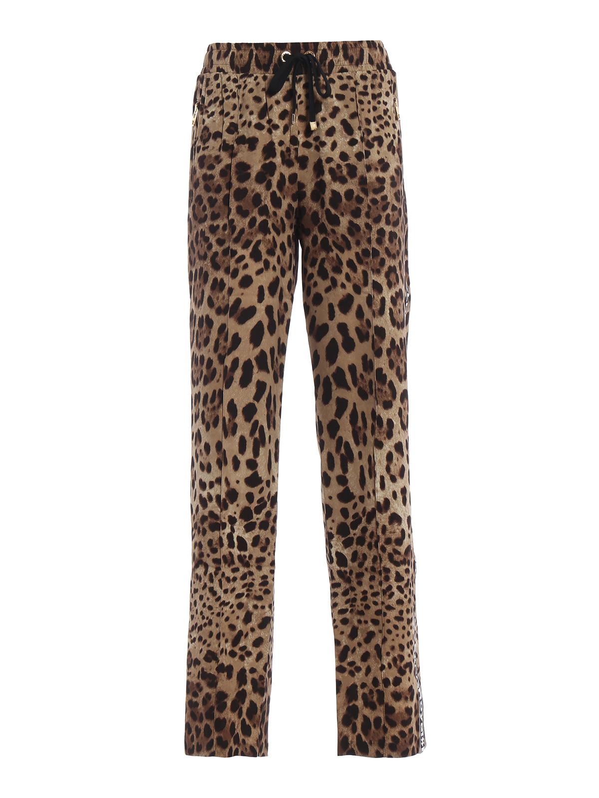 DOLCE   GABBANA  casual trousers - Leo print stretch silk wide leg pants af25395ac