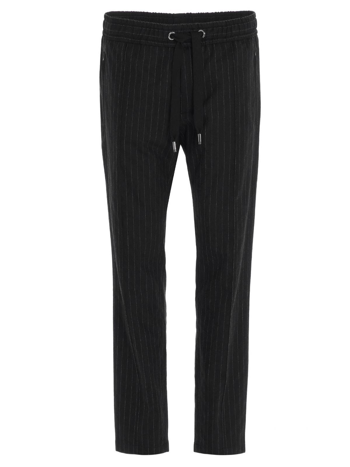 DOLCE & GABBANA PINSTRIPE JOGGING PANTS IN BLACK