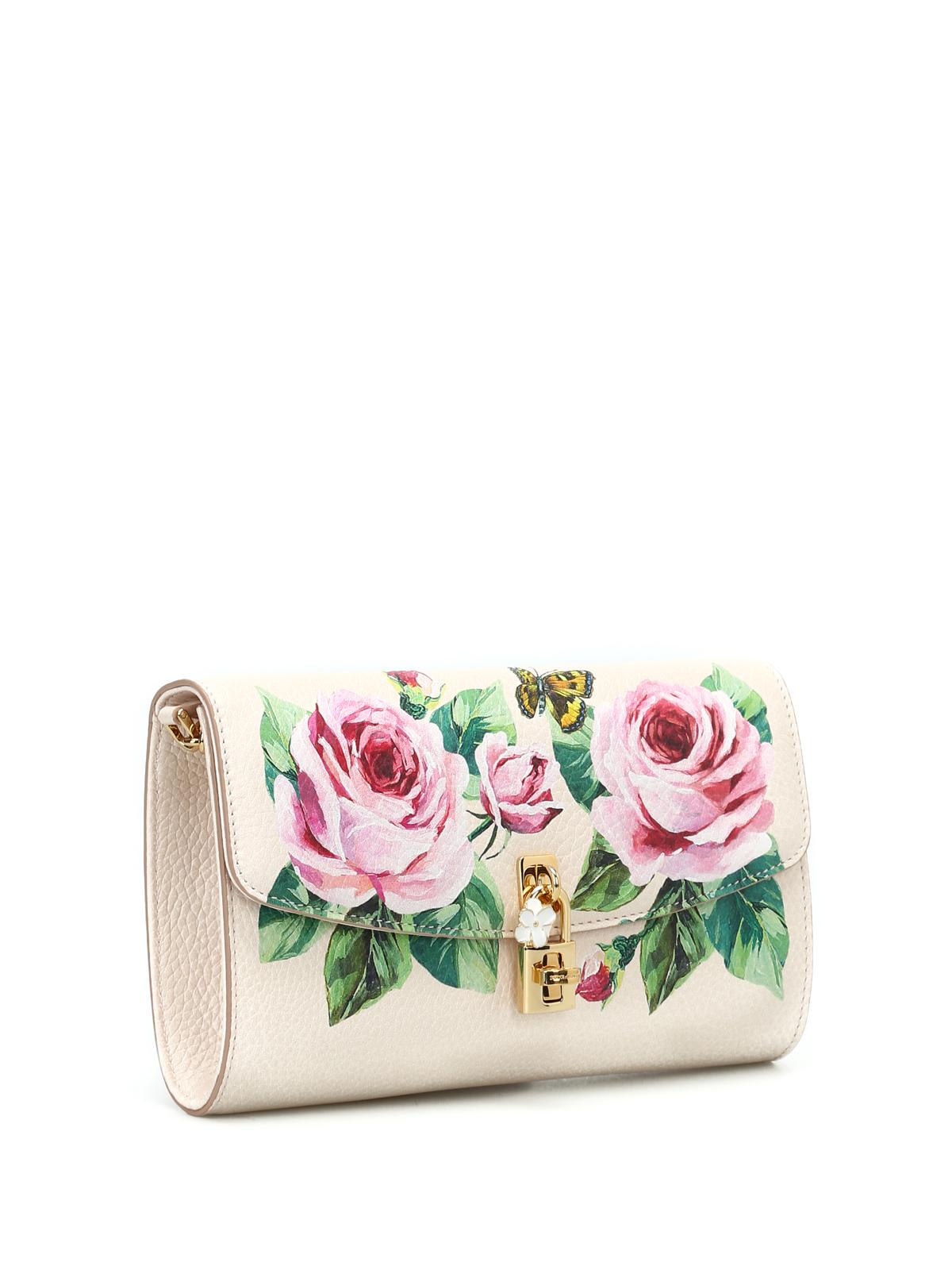 Dolce & Gabbana Roses print grained leather clutch mUGpL9b