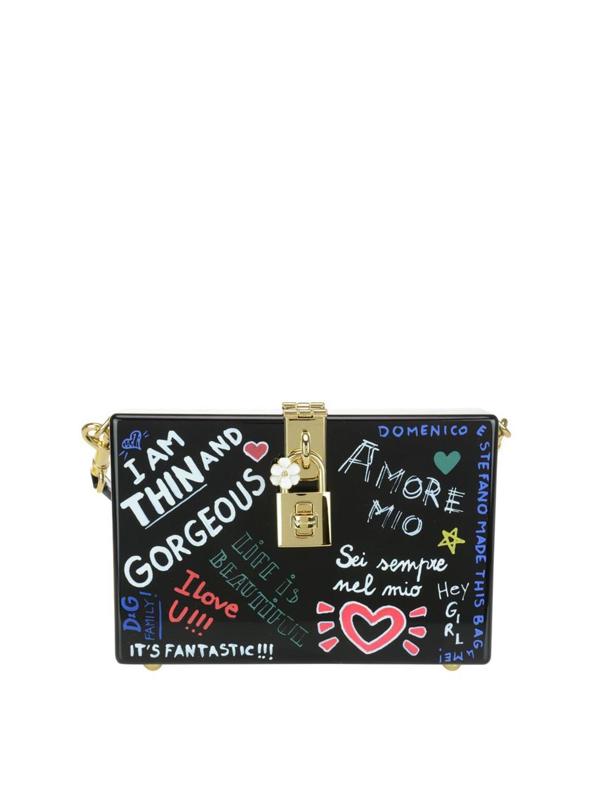 Dolce & Gabbana Mural print wood box cross body bag sXdiK