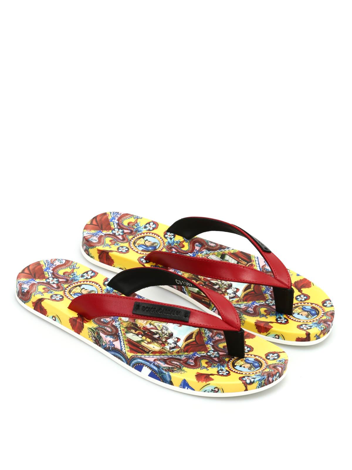 572217f6031 Dolce   Gabbana - Chinese print flip flops - flip flops ...