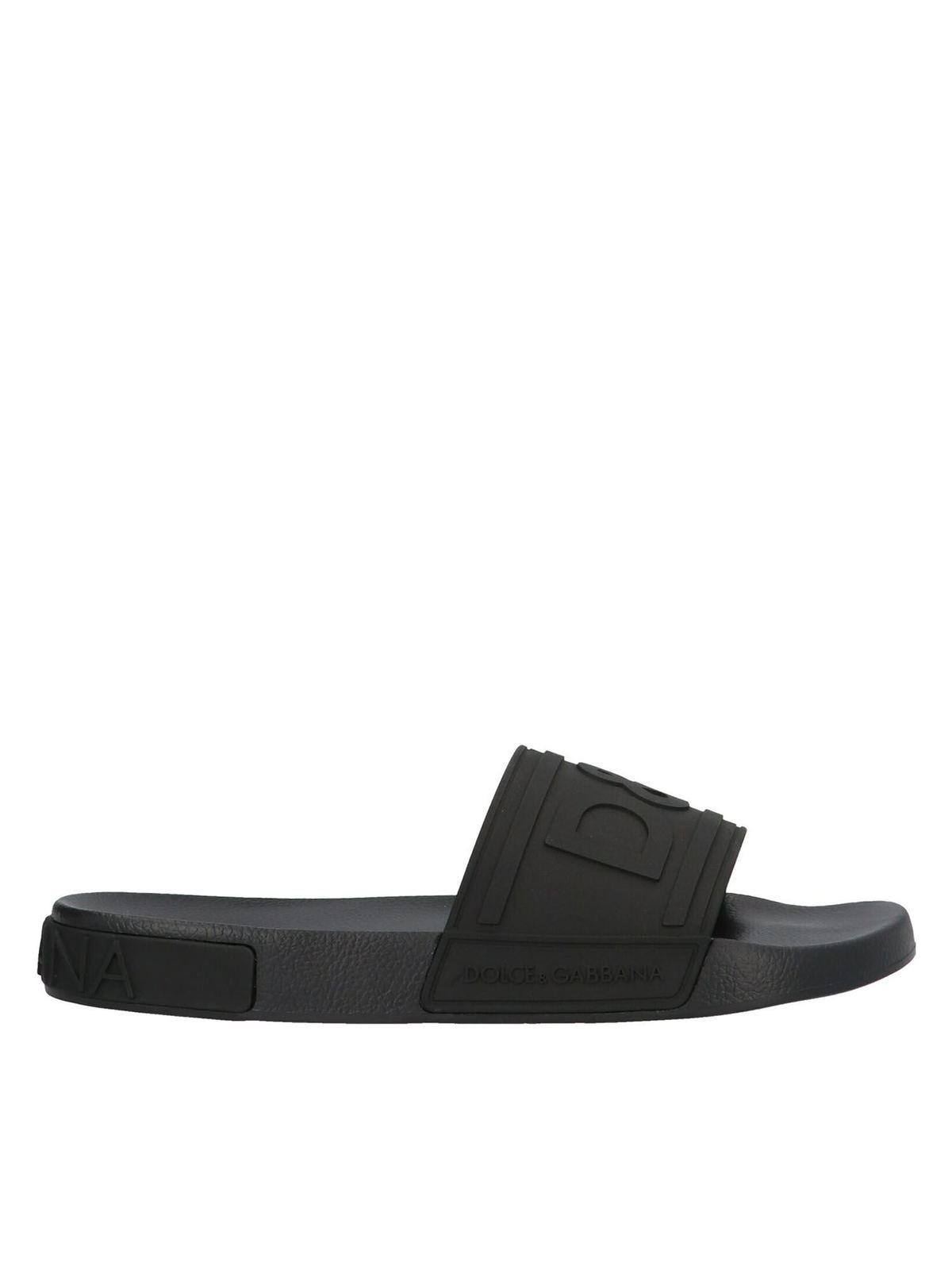 Dolce & Gabbana DG LOGO SLIPPERS IN BLACK