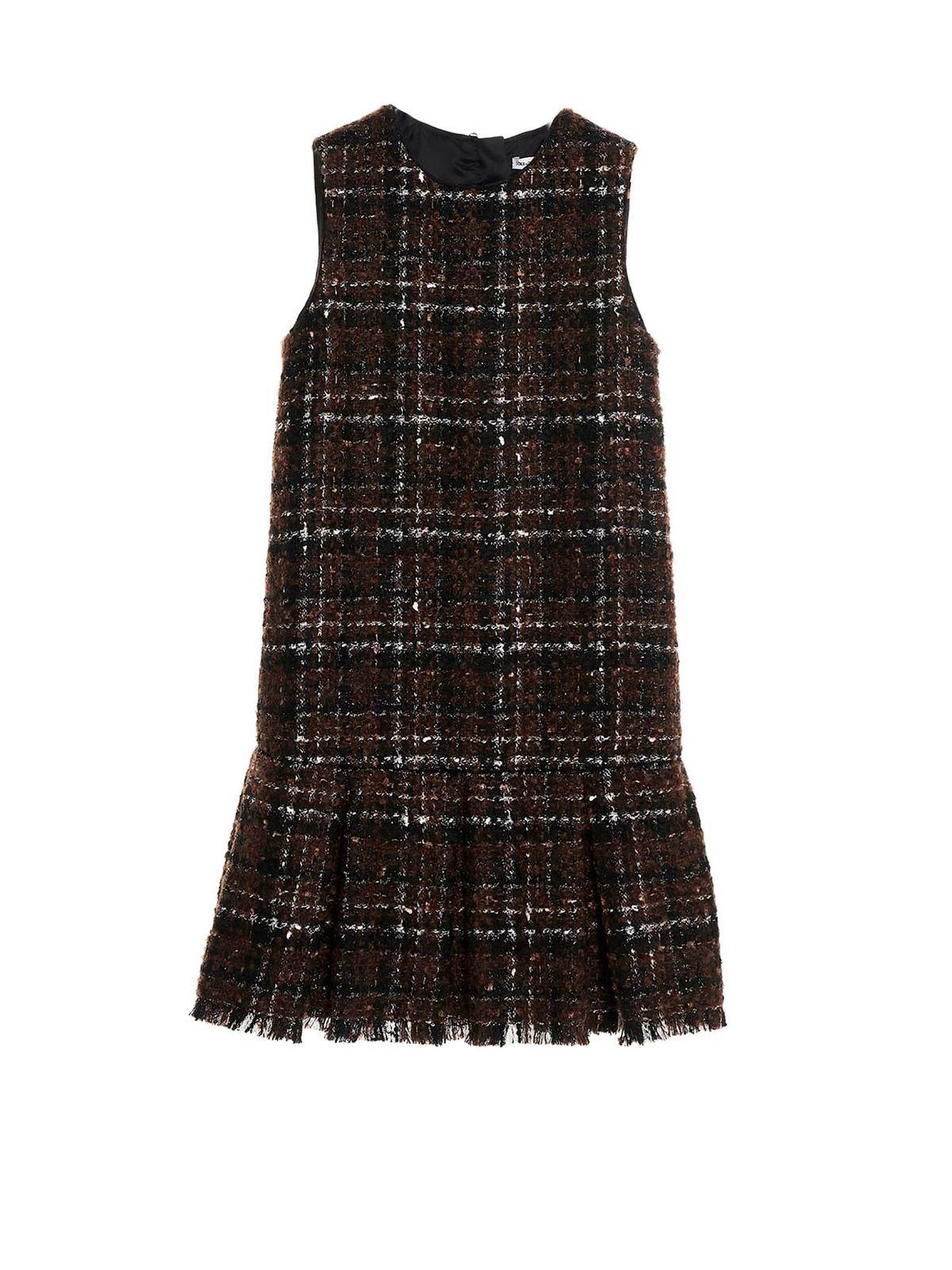 Dolce & Gabbana Jr Cottons LAME TWEED SHORT DRESS IN BROWN