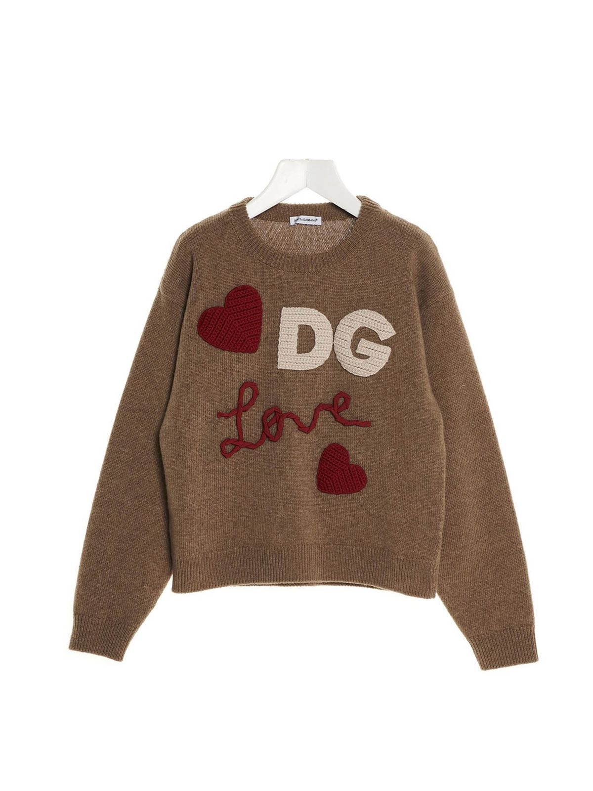 Dolce & Gabbana Jr Clothing DG LOVE PATCH PULLOVER IN BROWN