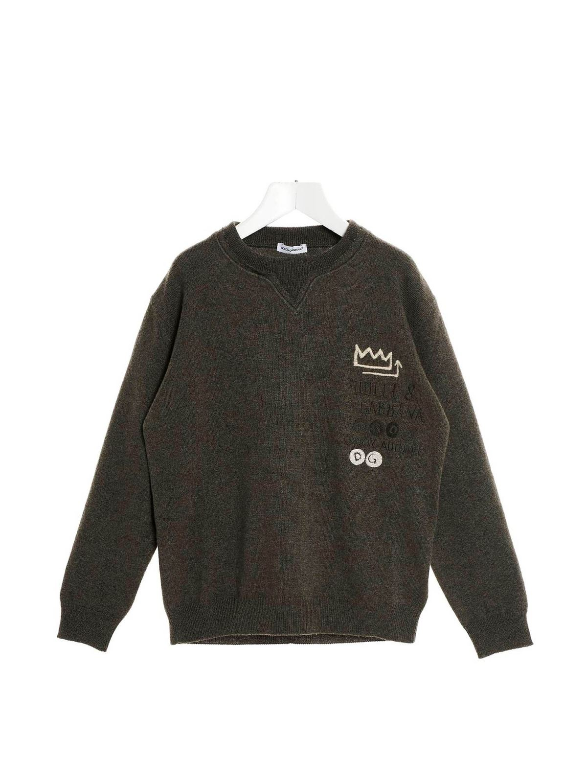 Dolce & Gabbana Jr Clothing EMBROIDERED LOGO PULLOVER IN GREY