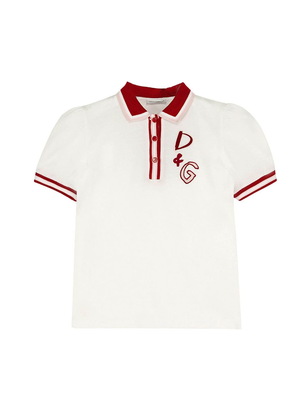 DOLCE & GABBANA JR BRANDED POLO SHIRT IN WHITE AND RED