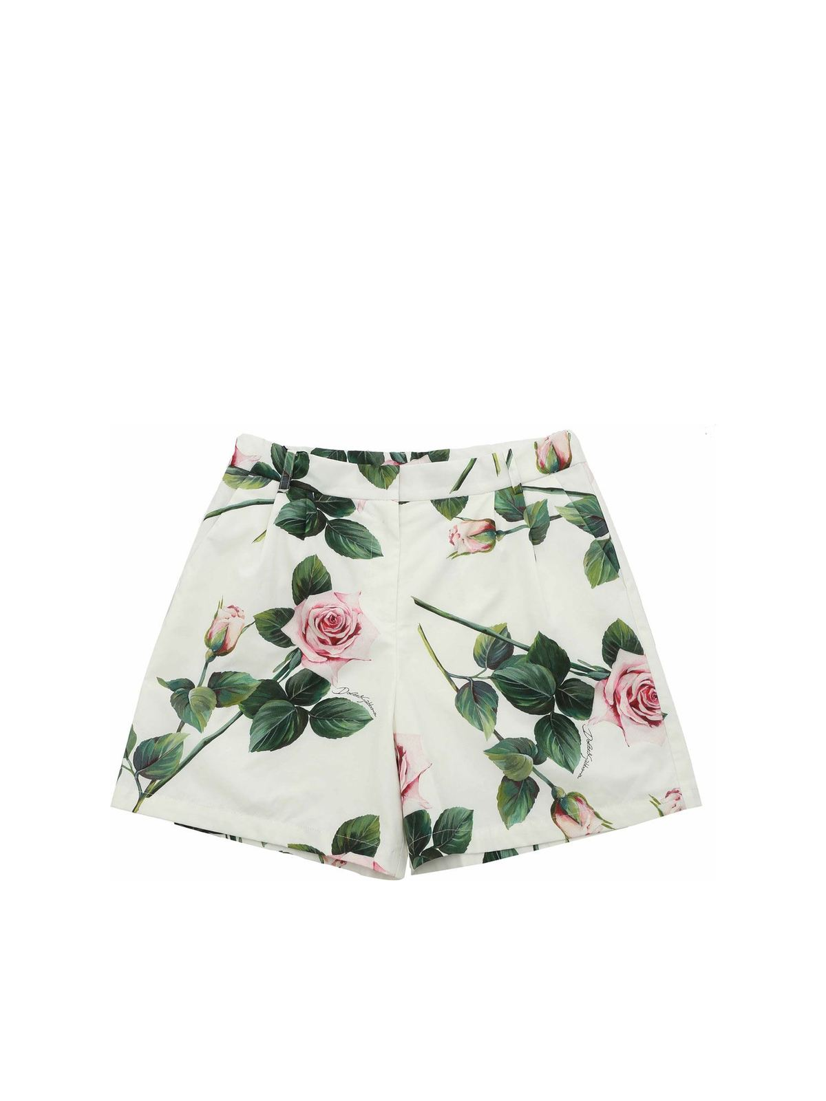DOLCE & GABBANA JR TROPICAL ROSE PRINT SHORTS IN WHITE