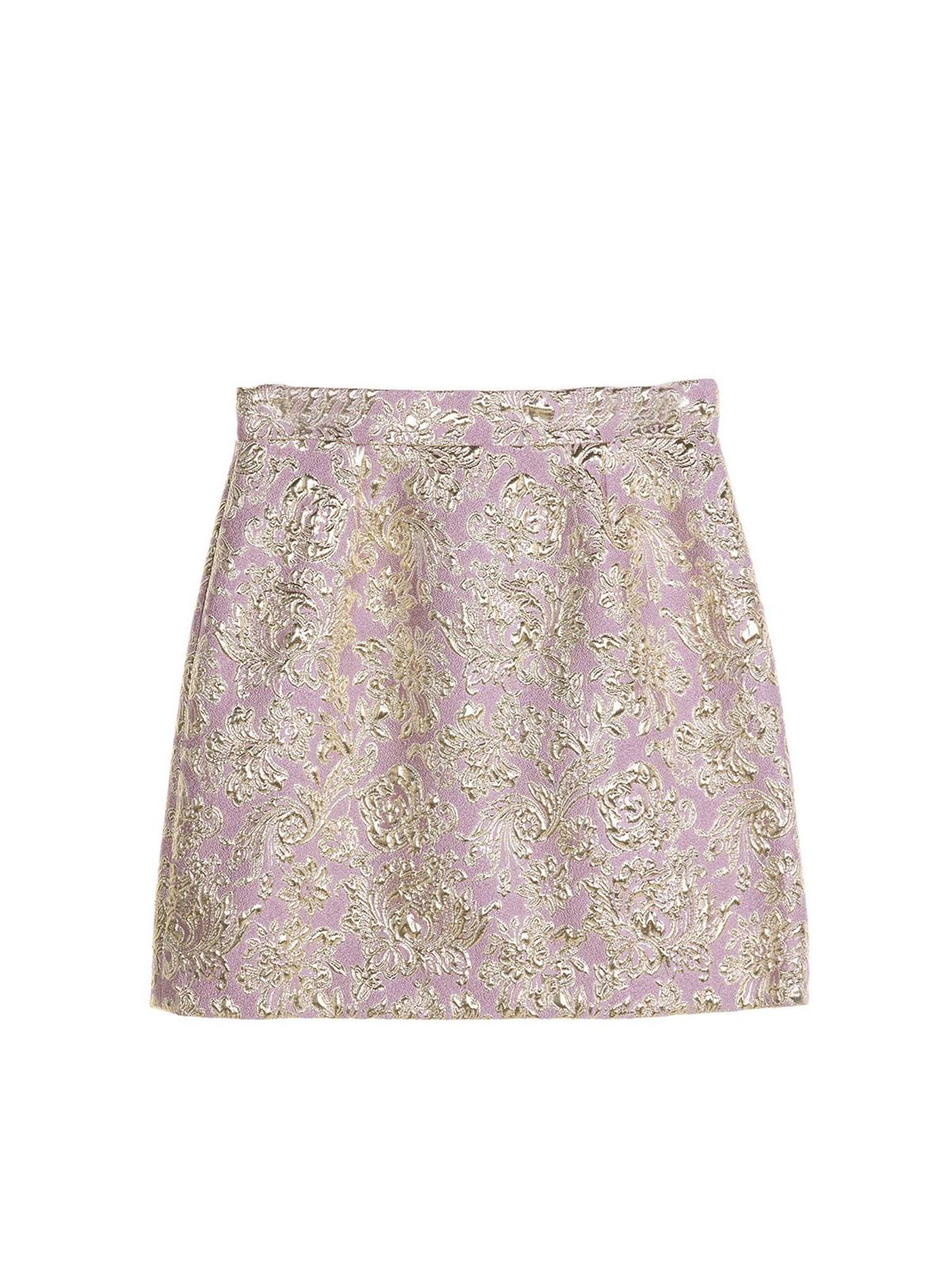 Dolce & Gabbana Jr LAME INLAYS SHORT SKIRT IN PINK