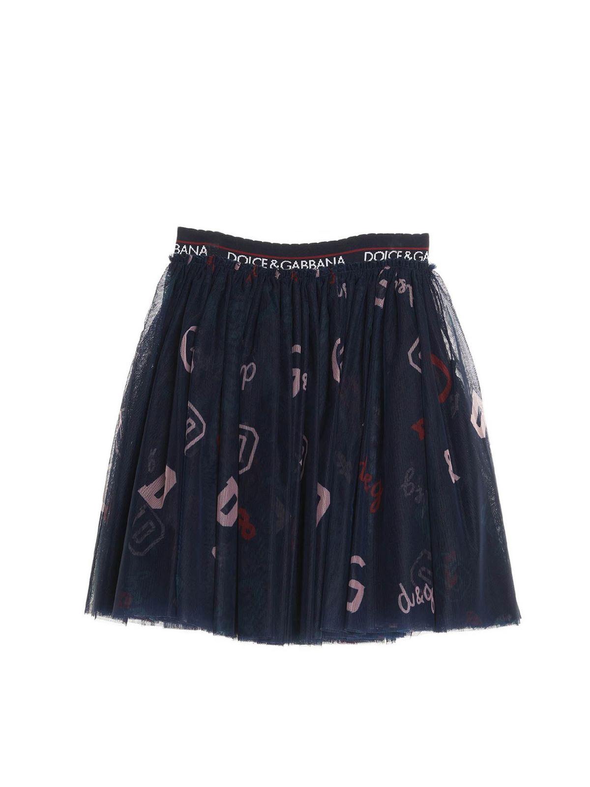 Dolce & Gabbana Jr Linings LOGO PRINTED TULLE SKIRT
