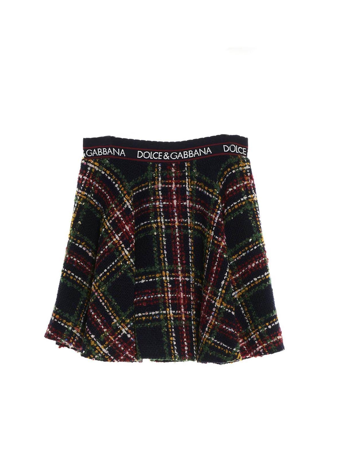 Dolce & Gabbana Jr Cottons SHORT TARTAN FULL SKIRT