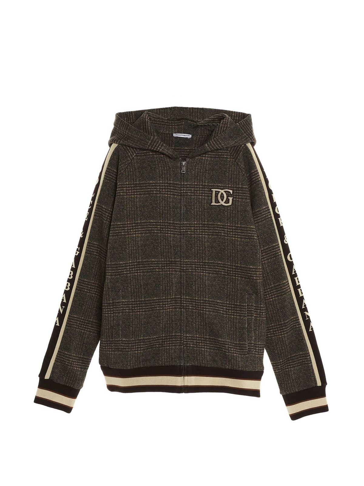 Dolce & Gabbana Jr Cottons DG CHECKED SWEATSHIRT WITH ZIP IN BROWN