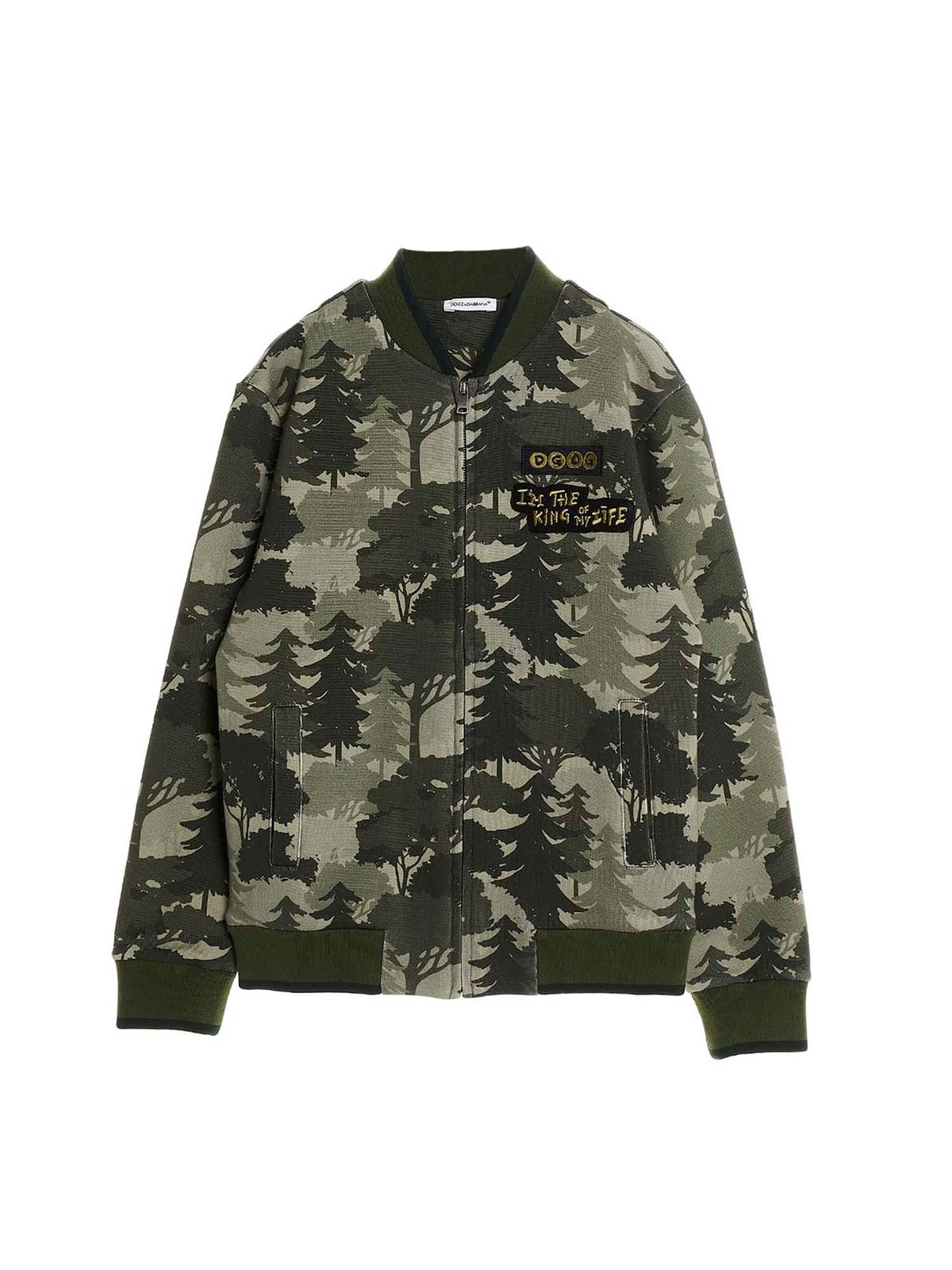 Dolce & Gabbana Jr Cottons FOREST PRINT ZIP SWEATSHIRT IN GREEN