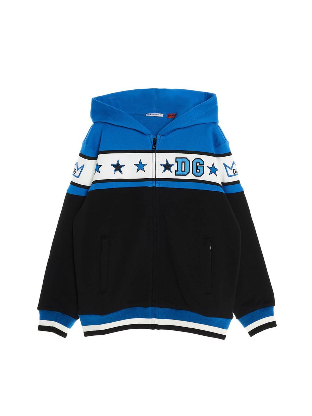 DOLCE & GABBANA JR STARS SWEATSHIRT WITH HOOD AND ZIP IN BLUE