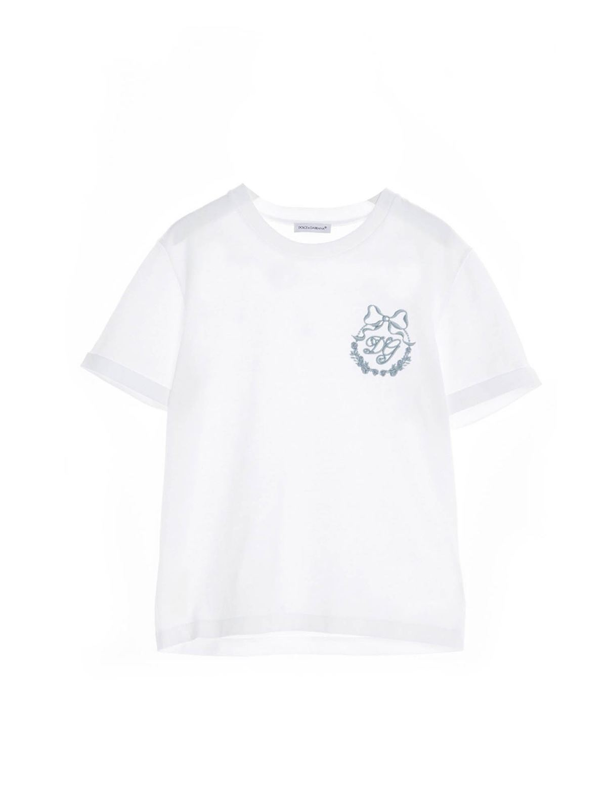 Dolce & Gabbana Jr Cottons DG EMBROIDERED T-SHIRT IN WHITE