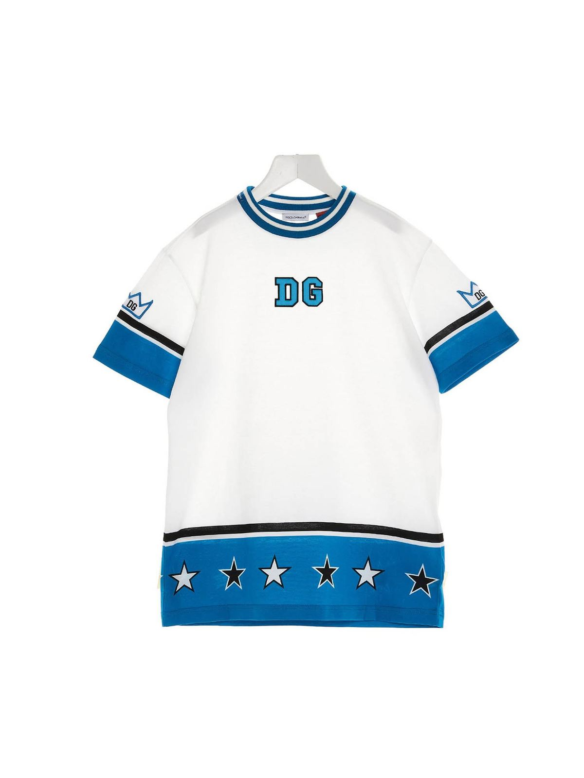 DOLCE & GABBANA JR DG ROYALS T-SHIRT IN WHITE AND BLUE