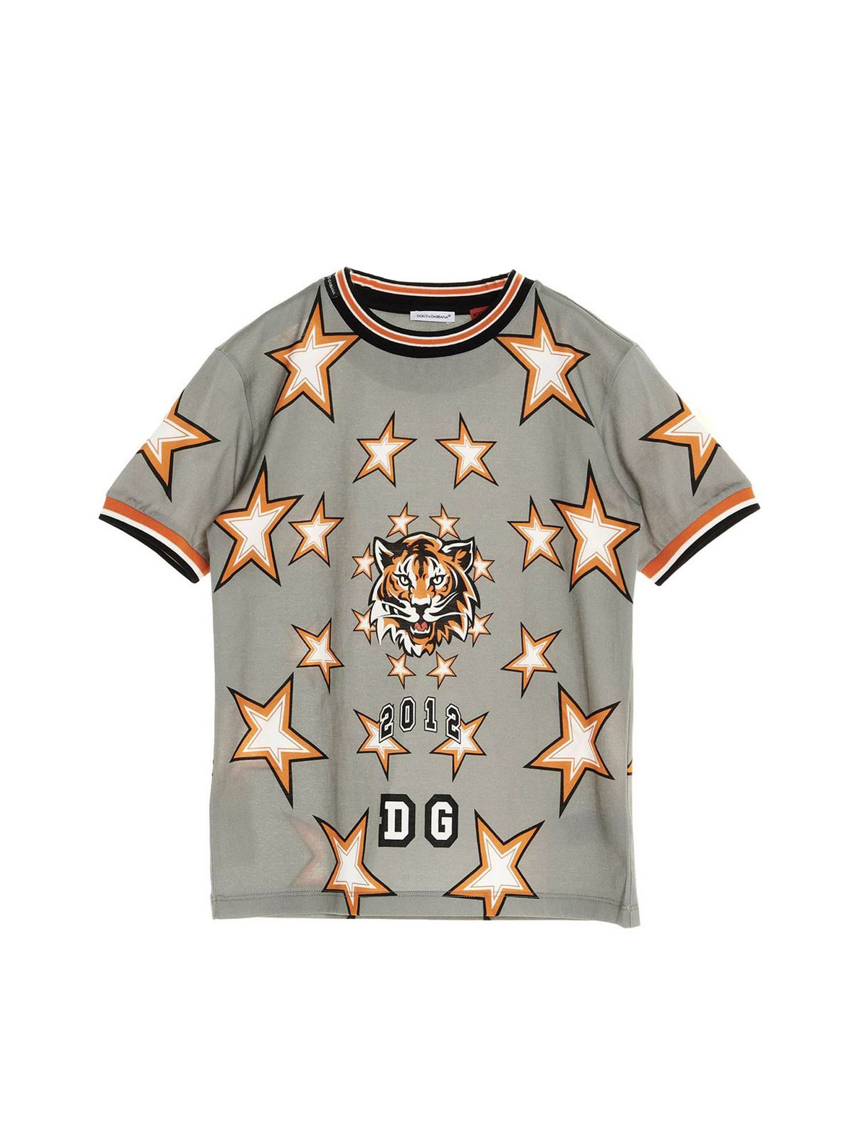 DOLCE & GABBANA JR DG TIGER T-SHIRT IN GREY