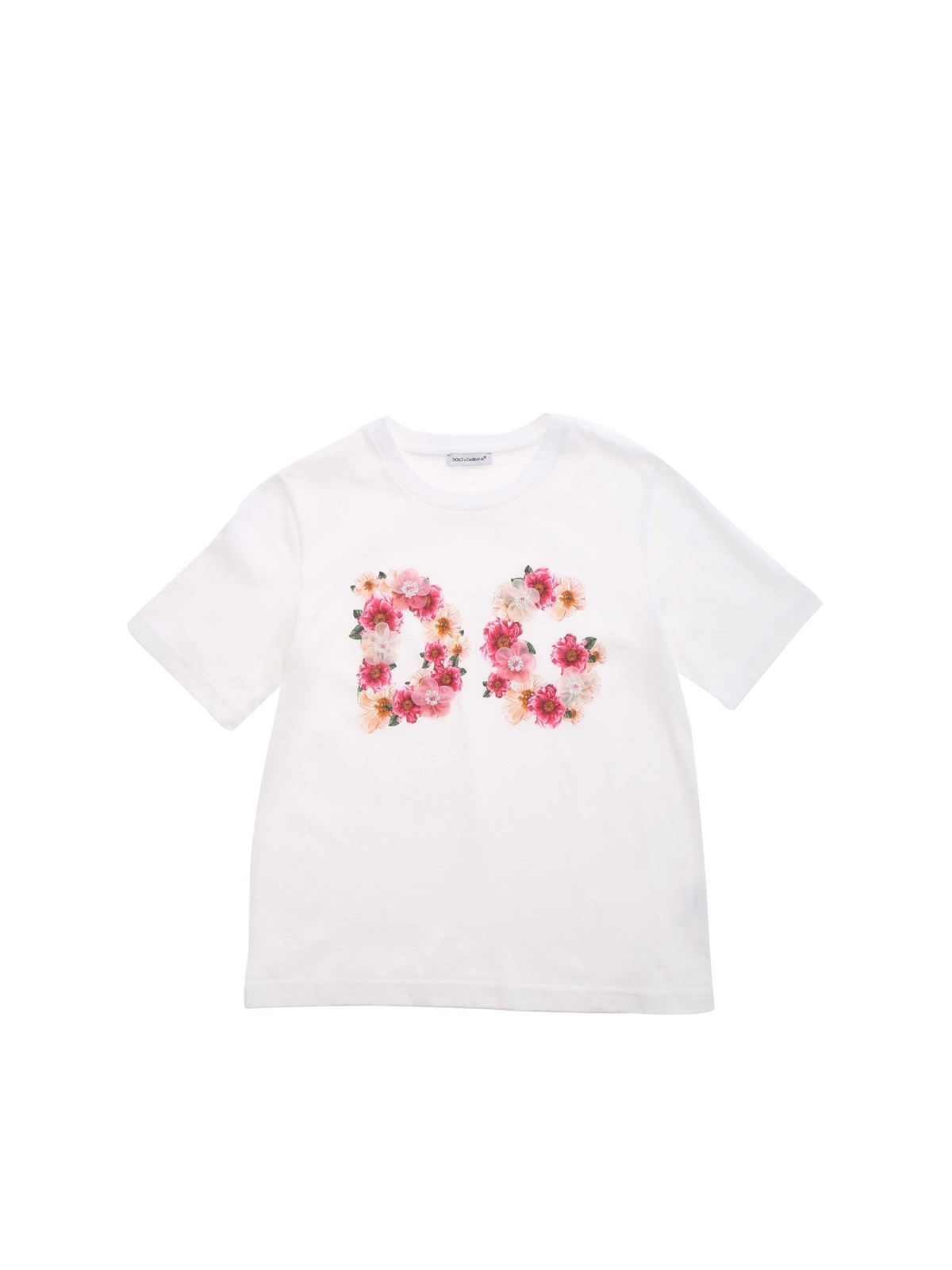 DOLCE & GABBANA JR FLOWERS T-SHIRT IN WHITE