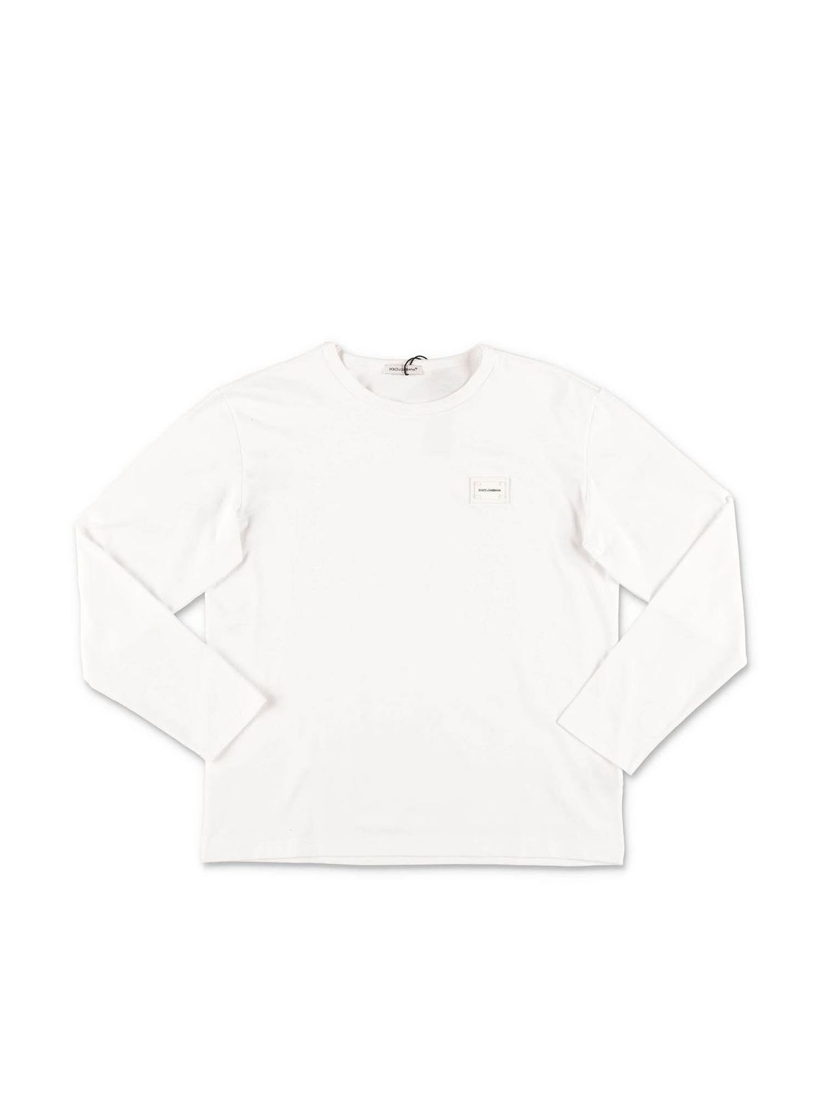Dolce & Gabbana Jr Cottons LONG SLEEVE T-SHIRT IN WHITE