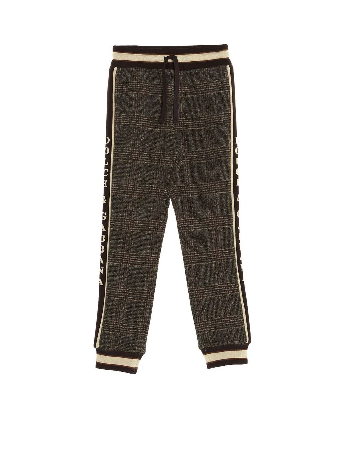 DOLCE & GABBANA JR CHECKED JOGGING PANTS IN BROWN