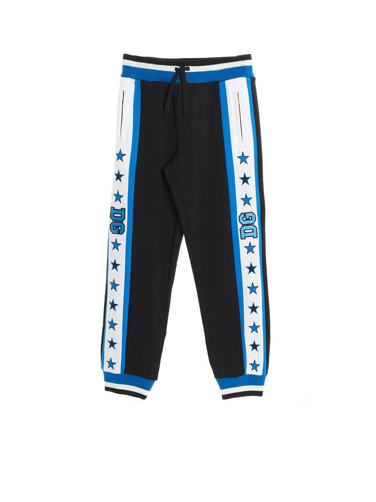 DOLCE & GABBANA JR DG STARS PANTS IN BLUE AND BLACK