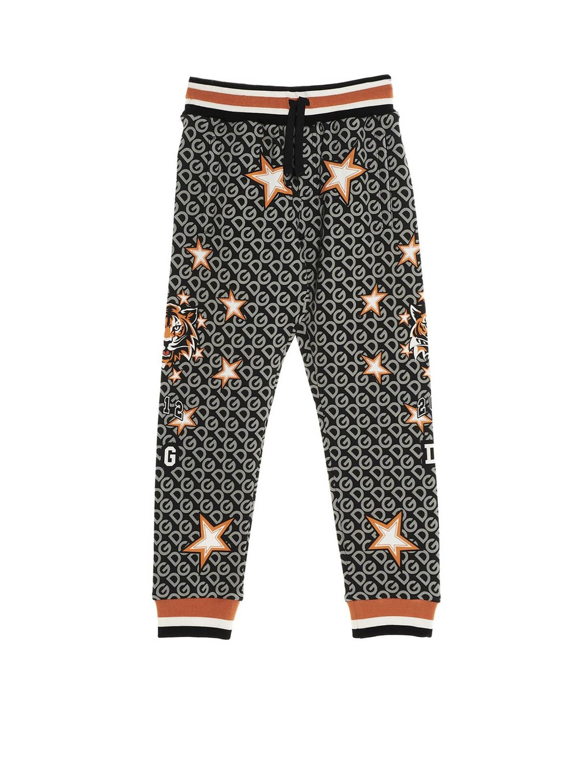 DOLCE & GABBANA JR FASHION TIGER PANTS IN GREY