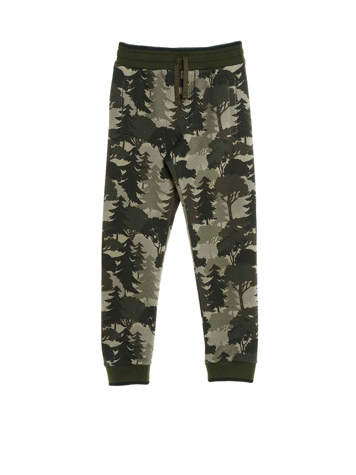 DOLCE & GABBANA JR FOREST PRINT JOGGING PANTS IN GREEN